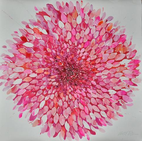Idoline Duke  Big Pink Flower, 2016 watercolor on paper 48 x 48 in.