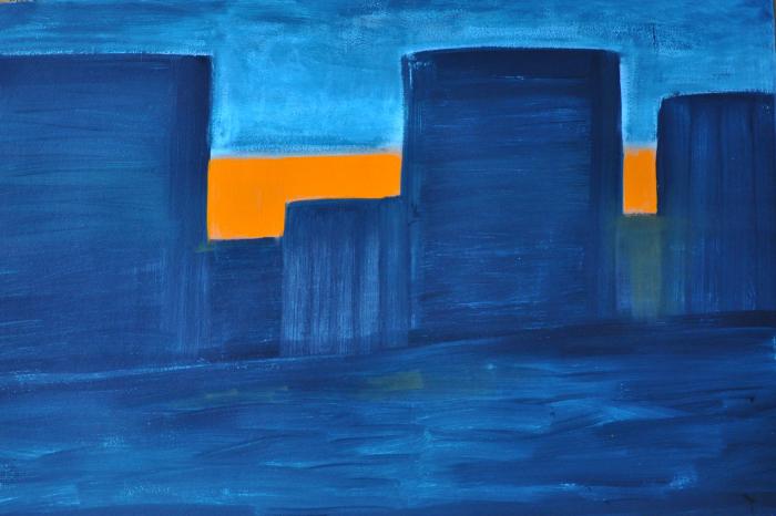 Kathryn Lynch  Orange City Sunset  oil on paper 40 1/4 x 60 in.