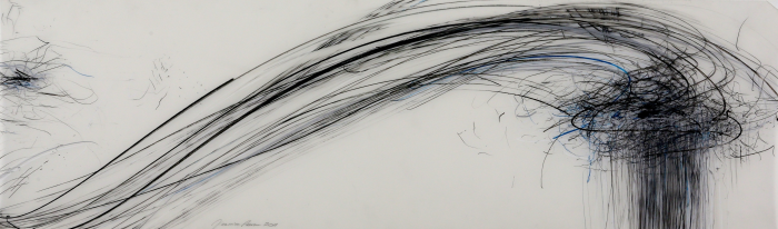 Jaanika Peerna  Storm Series #50 , 2011 graphite and color pencil on mylar 11 x 36 in.