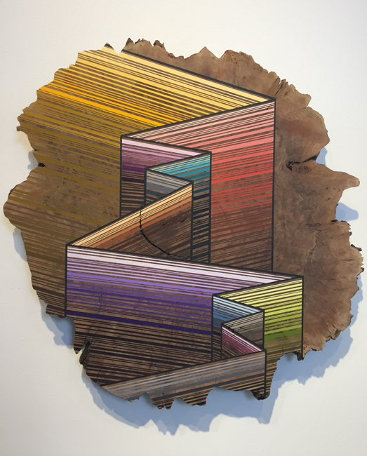 Jason Middlebrook  Strata walls #2,  2015 acrylic on walnut 27 x 26 x 1 in.