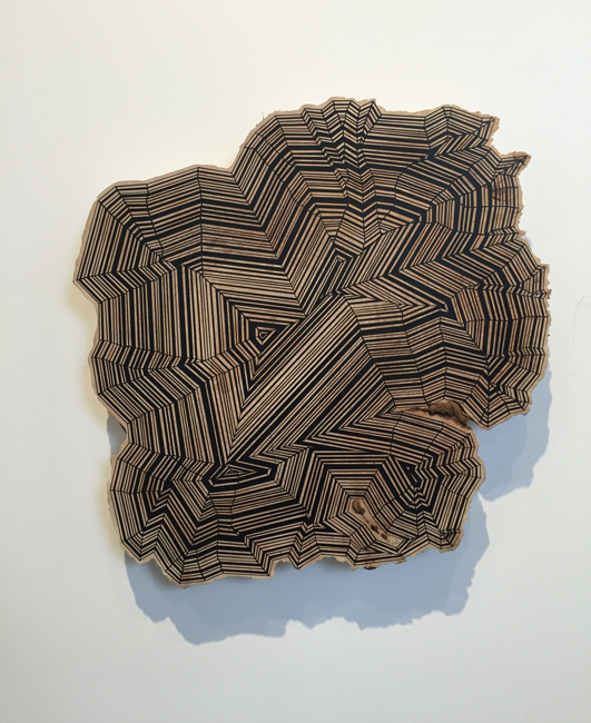 Jason Middlebrook  Time compression keeps me coming back for more,  2015 spray paint on curly maple 25 x 25 x 2 in.