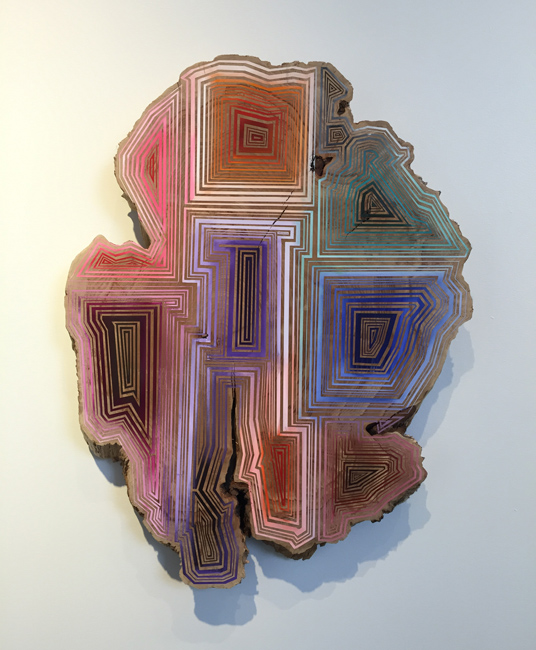 Jason Middlebrook  Nine Ways to Get Your Groove on,  2014 acrylic on maple 34 1/2 x 36 1/2 x 2 in.