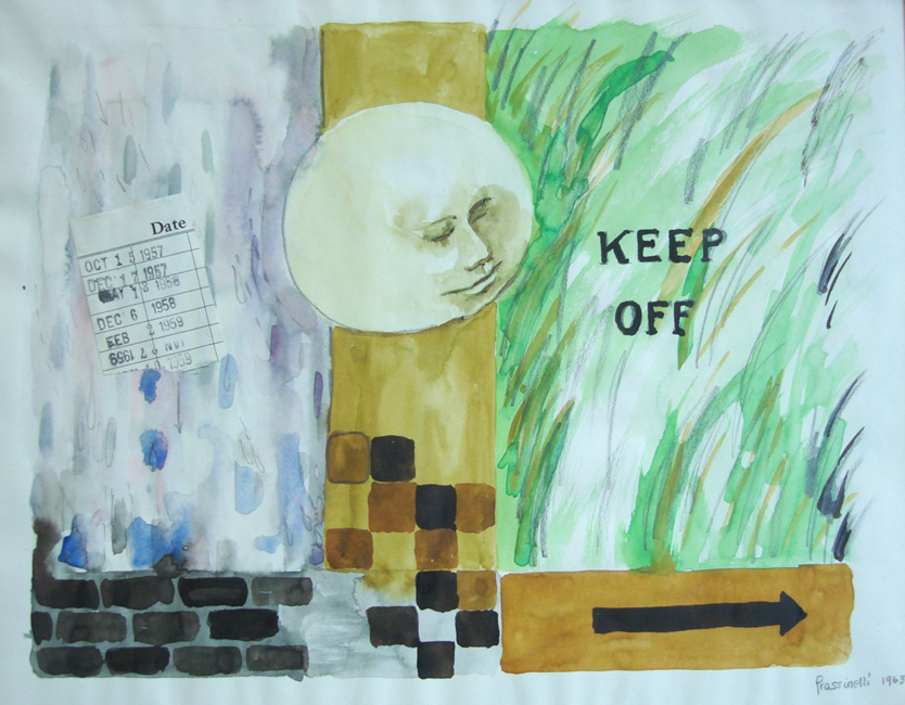 Sarah Frassinelli  C2, Keep Off,  1963 watercolor and collage on paper 9 1/4 x 11 1/4 in.