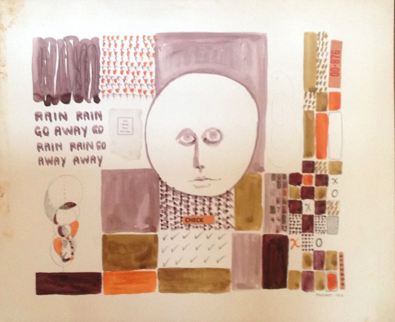 Sarah Frassinelli  C28, RAIN RAIN GO AWAY GO,  1963 watercolor and collage on paper 11 1/2 x 13 1/2 in.