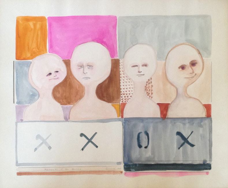 Sarah Frassinelli  W37, Members of the Board , 1963 watercolor and collage on paper 12 x 14 1/2 in.