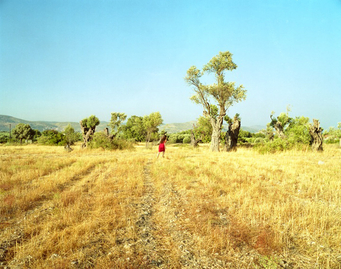 Bastienne Schmidt  Running In Red Skirt, Samos, 2004 , 2004 c-print 30 x 40 in. (edition of 9) 20 x 24 in. (edition of 15) 16 x 20 in. (edition of 25)