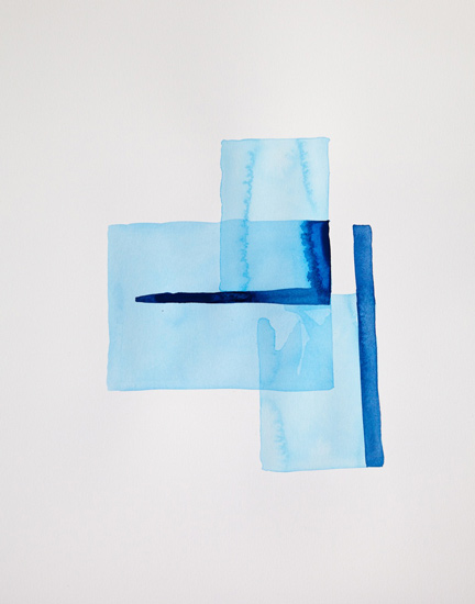 Bastienne Schmidt  Cyan Geometry I , 2013 mixed media on paper 30 x 22 in.