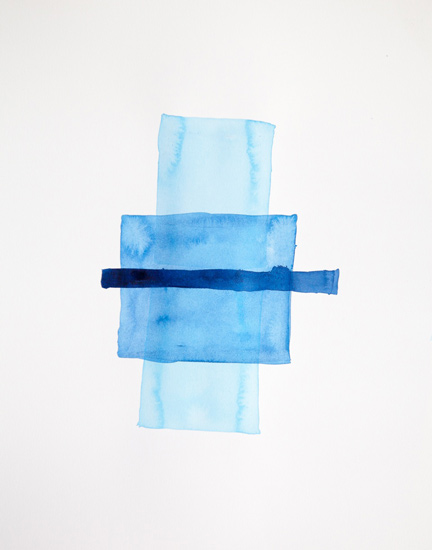 Bastienne Schmidt  Cyan Geometry IV , 2013 mixed media on paper 30 x 22 in.