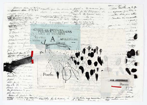 Maria Noel  To Apolinaire , 2009 mixed media (lithography and collage) on Fabriano paper 19 3/4 x 27 1/2 in.