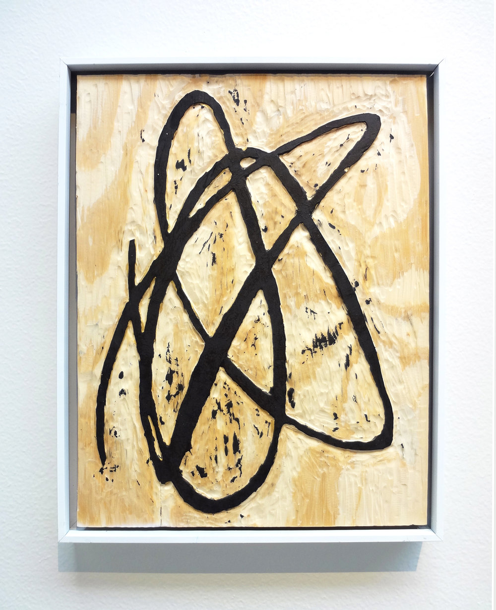 Meghan Gerety  Untitled 03 , 2015 blockprint ink on plywood 15 x 12 in. framed in aluminum