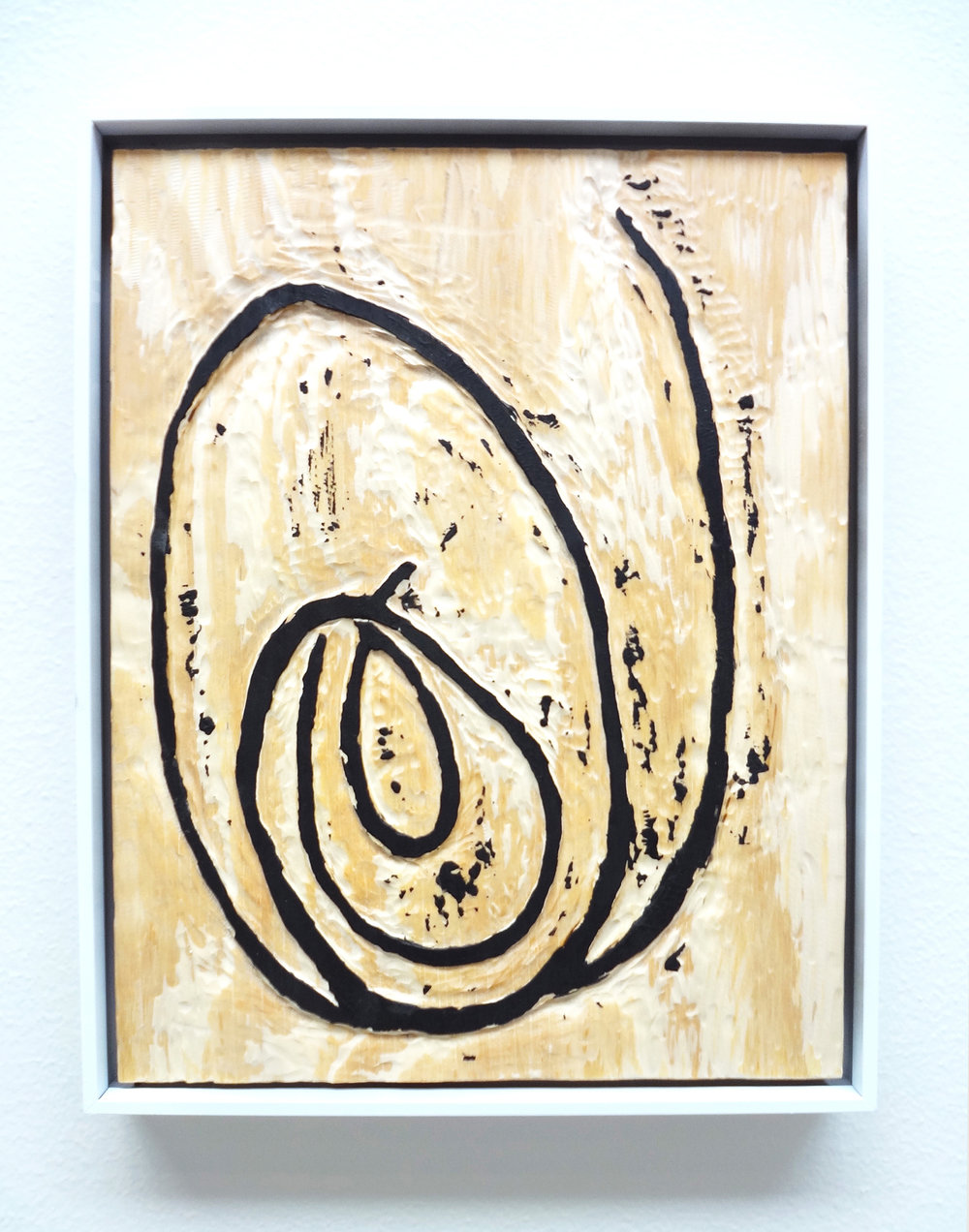 Meghan Gerety  Untitled 08 , 2015 blockprint ink on plywood 15 x 12 in. framed in aluminum