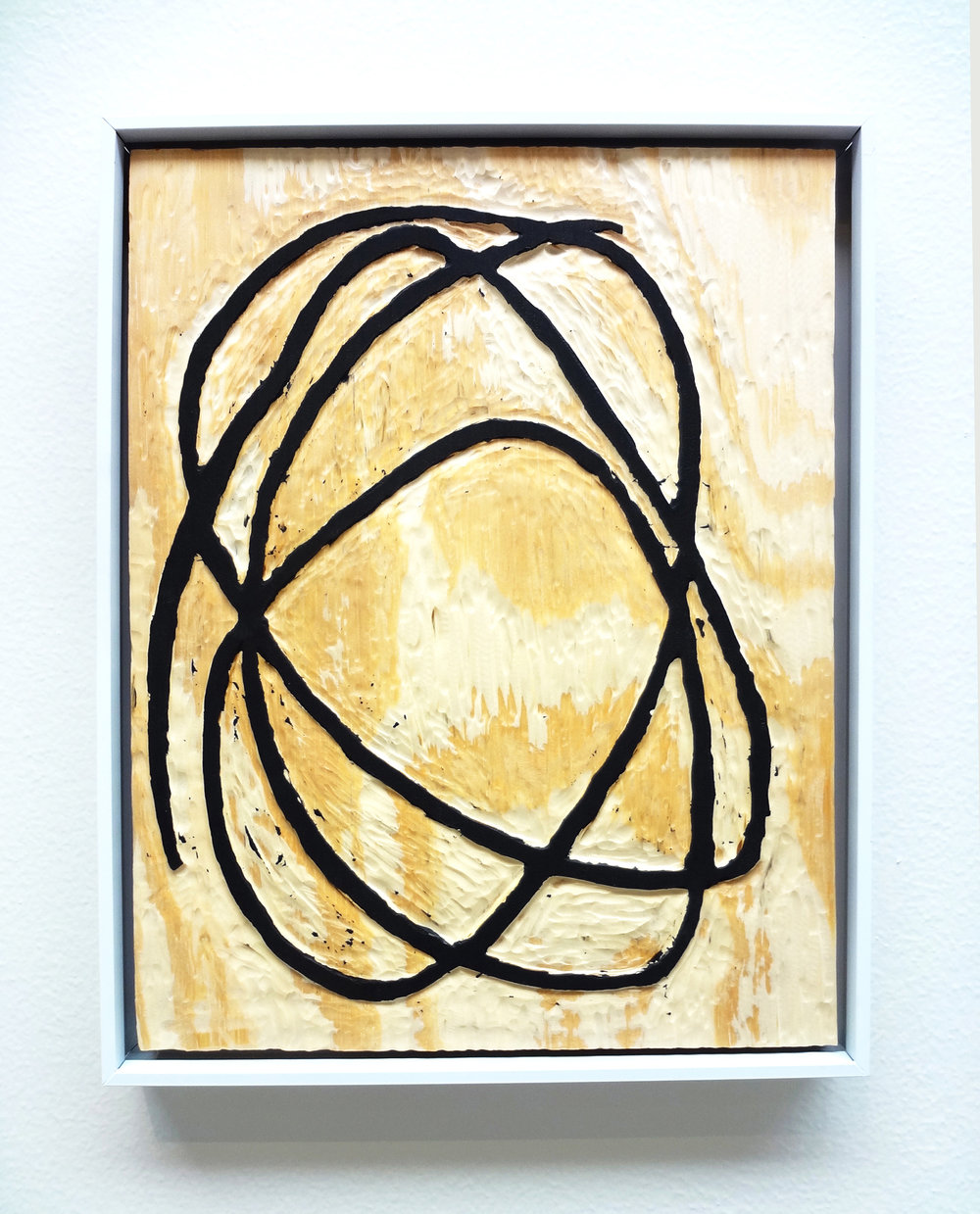Meghan Gerety  Untitled 07 , 2015 blockprint ink on plywood  15 x 12 in. framed in aluminum