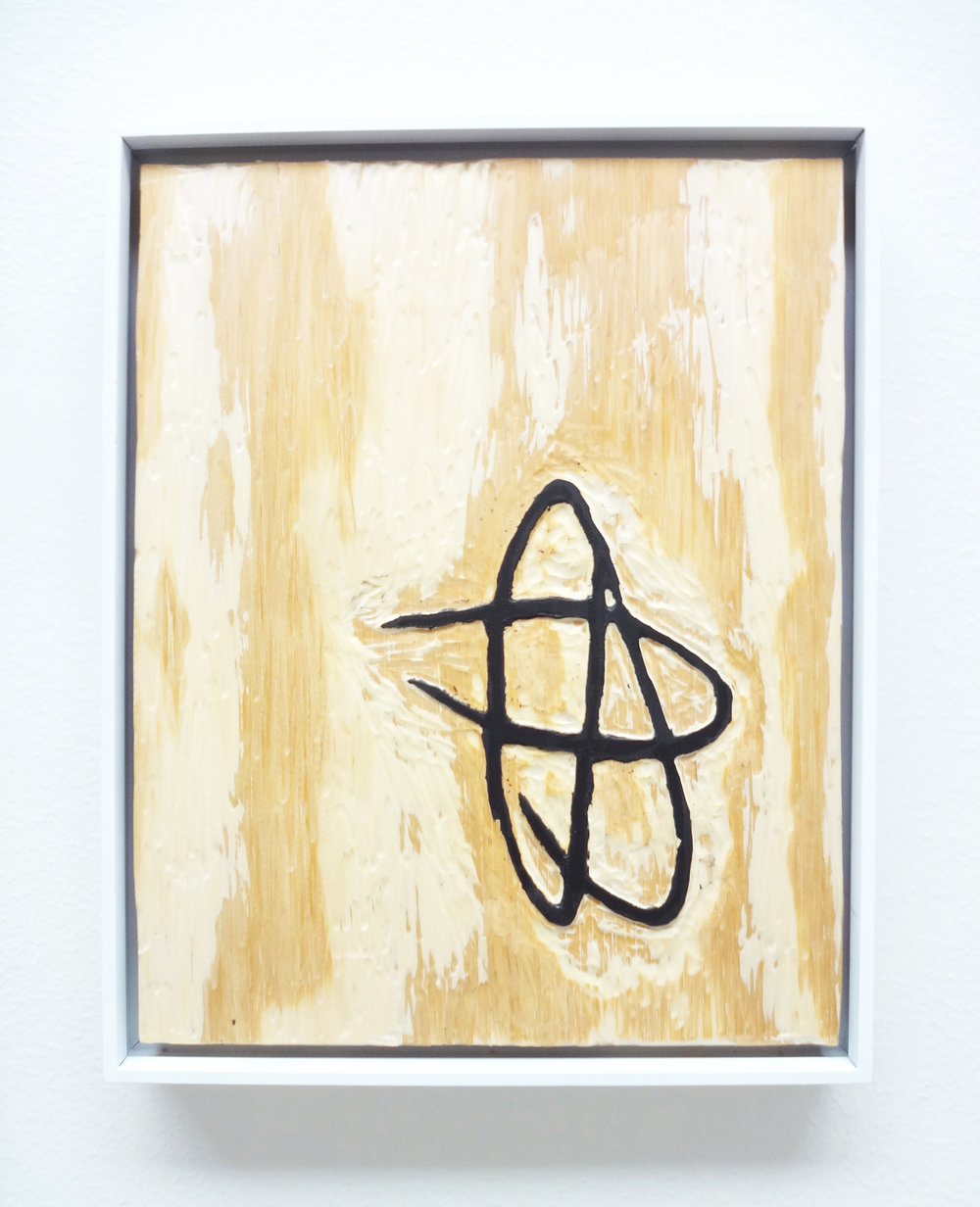 Meghan Gerety  Untitled 09 , 2015 blockprint ink on plywood 15 x 12 in. framed in aluminum