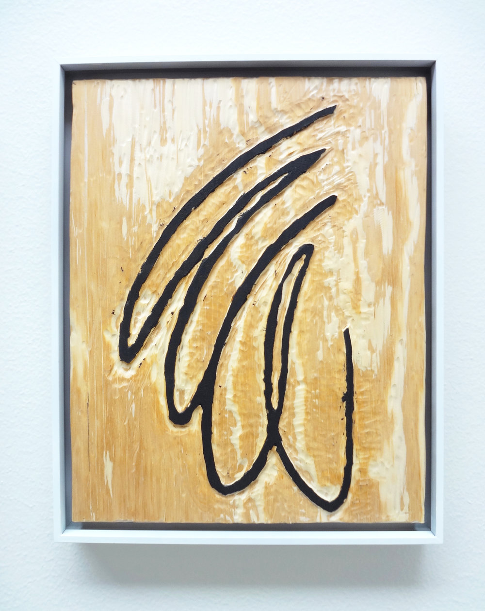 Meghan Gerety  Untitled 10 , 2015 blockprint ink on plywood  15 x 12 in. framed in aluminum
