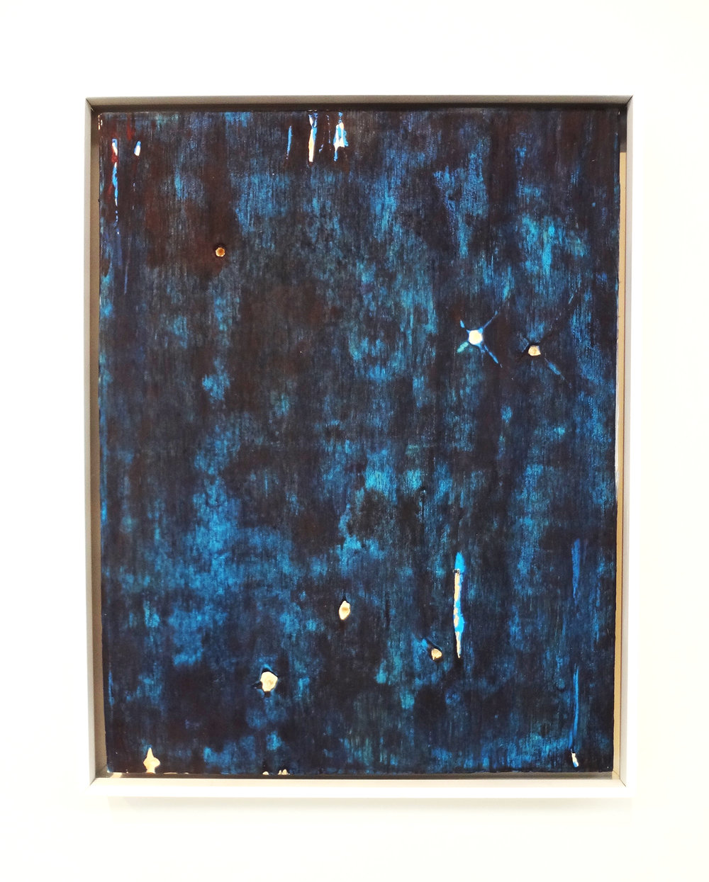Meghan Gerety  9.15.15 8:15PM NE , 2015 blockprint ink on plywood 15 x 12 in. framed in aluminum