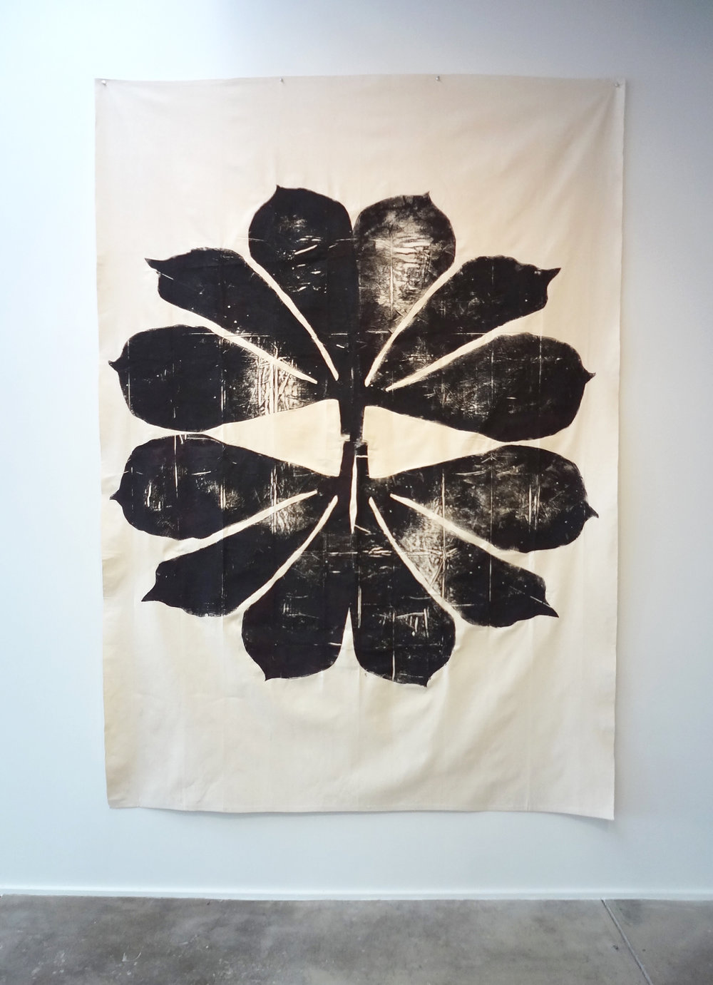 Meghan Gerety  Black Star , 2015 blockprint ink on canvas 108 x 72 in.