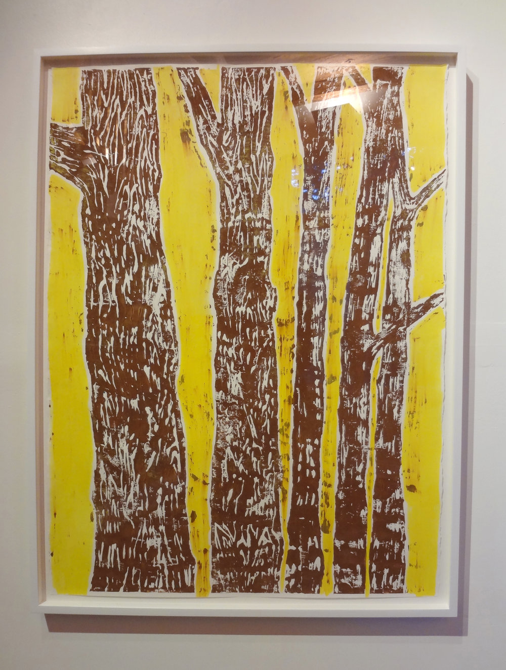 Meghan Gerety  Brown on Yellow Trees , 2012 blockprint ink on block print paper, 44 x 34 in. framed