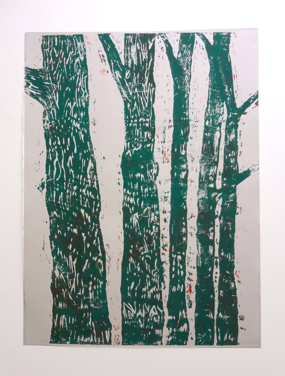 Meghan Gerety  Green Trees , 2012 blockprint ink on blockprint paper 40 x 30 in.
