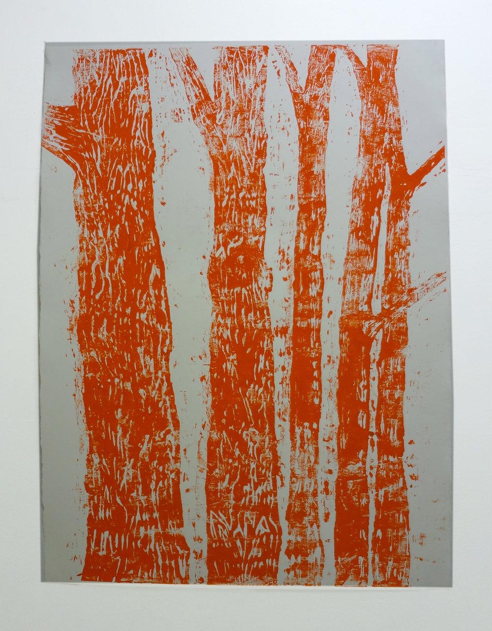 Meghan Gerety  Orange Trees , 2012 blockprint ink on blockprint paper 40 x 30 in.
