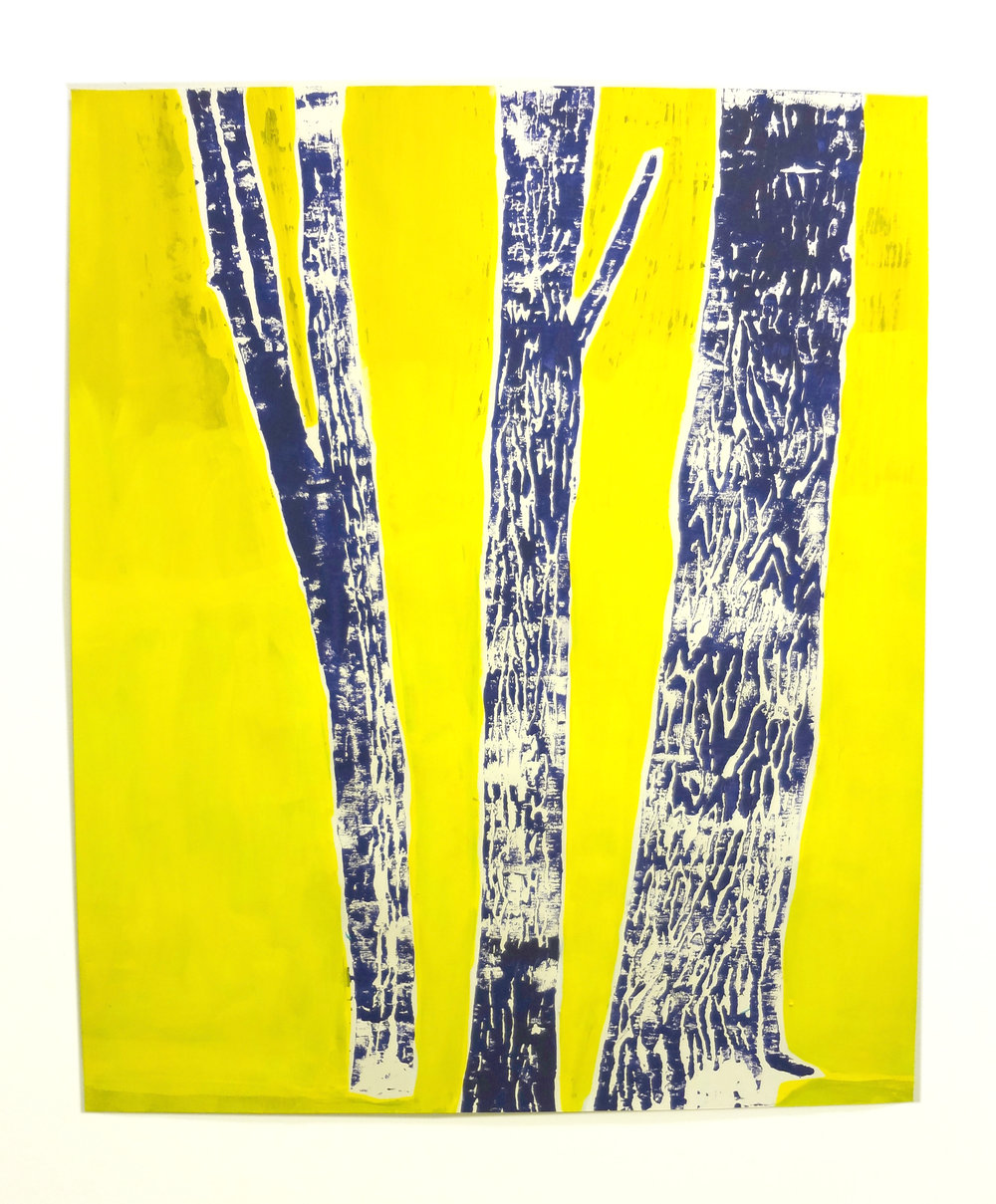 Meghan Gerety  Indigo on Yello Trees , 2012 blockprint ink on blockprint paper 34 x 30 in.