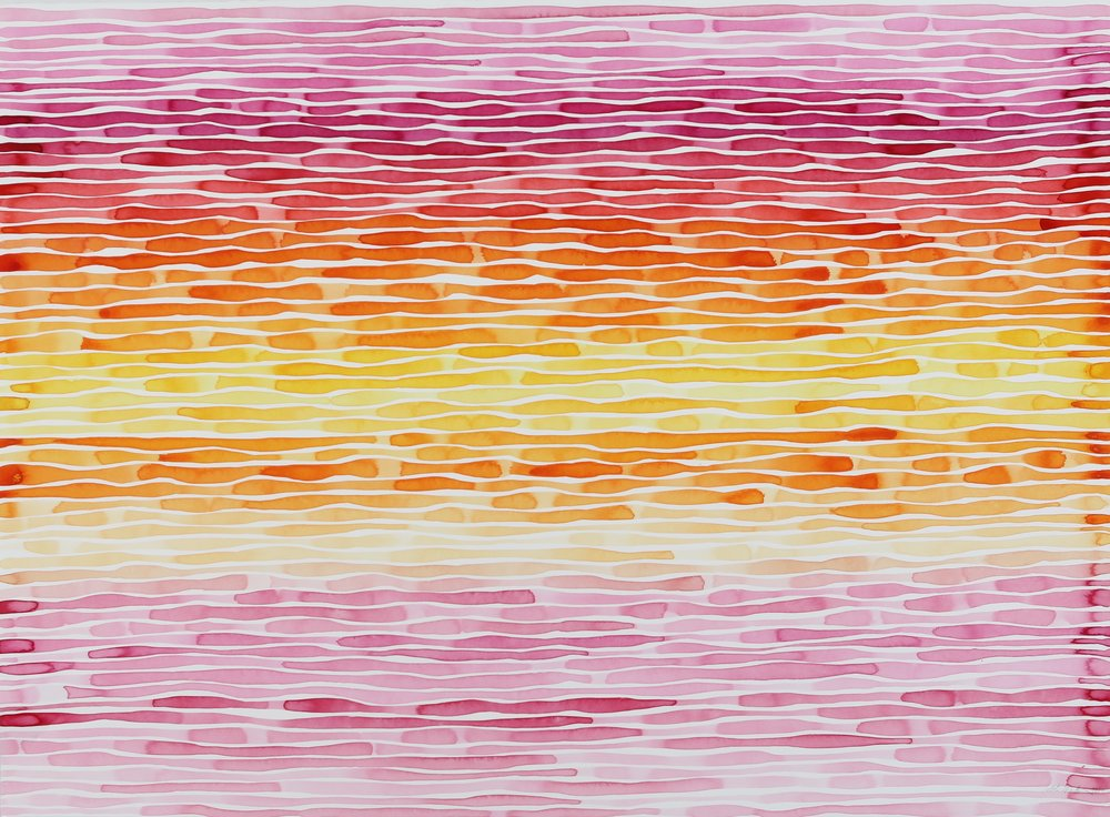 Idoline Duke  Evening Lines , 2013 watercolor on paper 30 x 40 in.