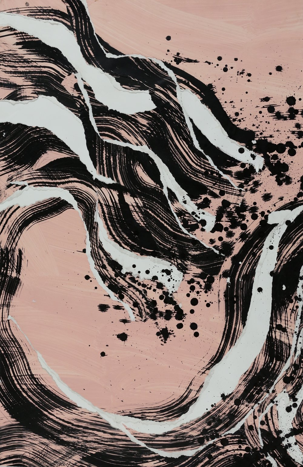 Catharine Warren  Untitled (Pink Wave) , 2007 mixed media on paper 45 x 28 3/4 in.