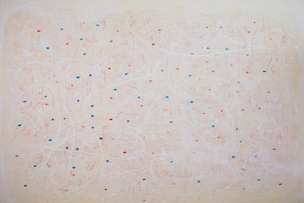 Bastienne Schmidt  Yellow Topos , 2015 mixed media on canvas 48 x 72 in.