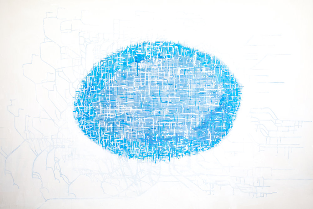 Bastienne Schmidt  Oval Topos , 2015 mixed media on canvas 48 x 72 in.