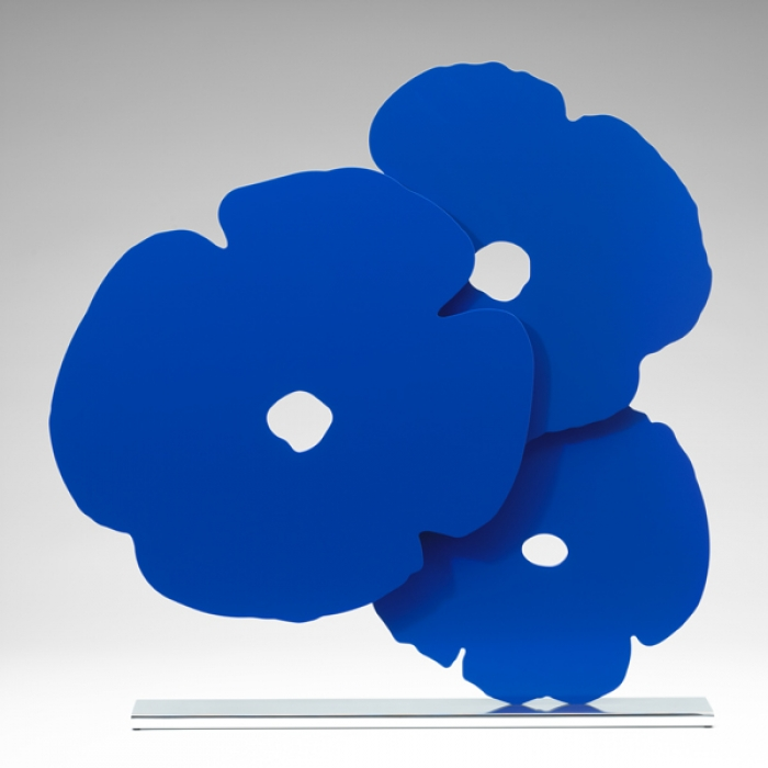 Donald Sultan  Blue Poppies , 2015 painted aluminum on polished aluminum base 24 1/2 x 24 x 3 1/2 in. edition of 25