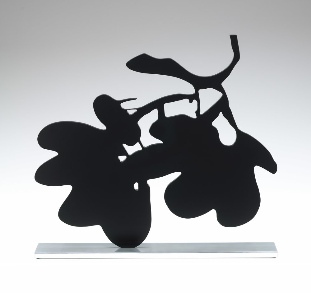 Donald Sultan  Big Black Lantern Flowers, May 1, 2014 , 2014 painted aluminium on polished stainless steel base 59 x 65 3/4 x 11 in. edition of 6