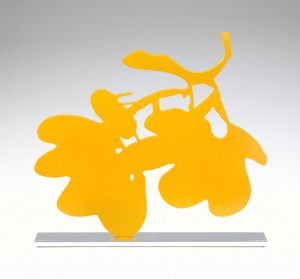 Donald Sultan  Yellow Lantern Flowers, Sept 18, 2013 , 2013 painted aluminum on polished aluminum base 18 x 19 1/2 x 3 in. edition of 20