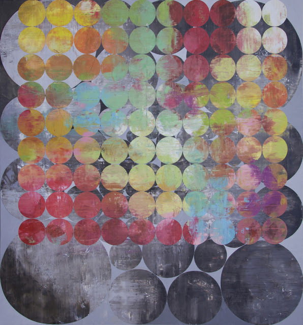 Perry Burns  Huddle , 2013 oil on canvas 90 × 84 in.