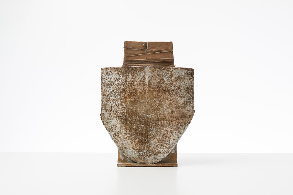 Toni Ross  Stele #19 , 2016 stoneware, slip and hemp thread 17 3/4 x 13 1/2 x 5 in.