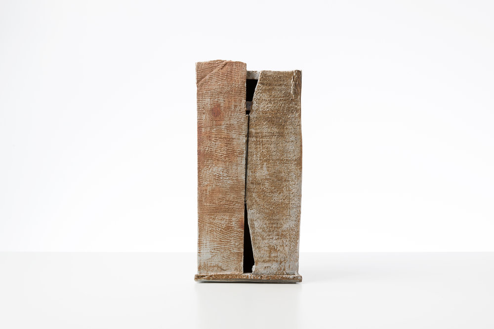 Toni Ross  Stele #21 , 2016 stoneware, slip and cotton thread 18 x 8 3/4 x 5 in.