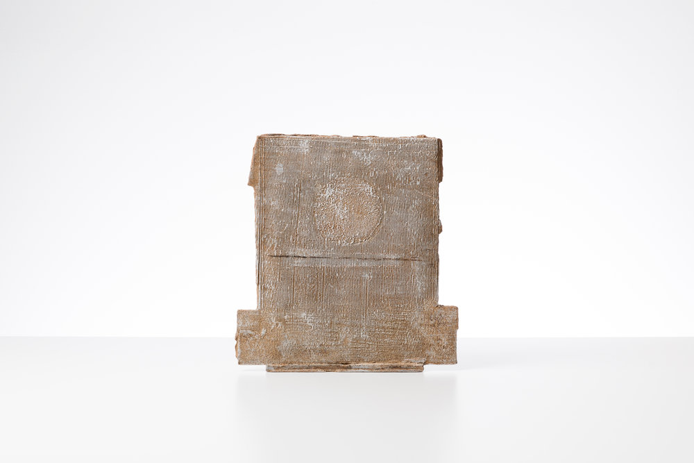 Toni Ross  Stele #16 , 2016 stoneware and slip  15 x 14 1/8 x 3 3/4 in.