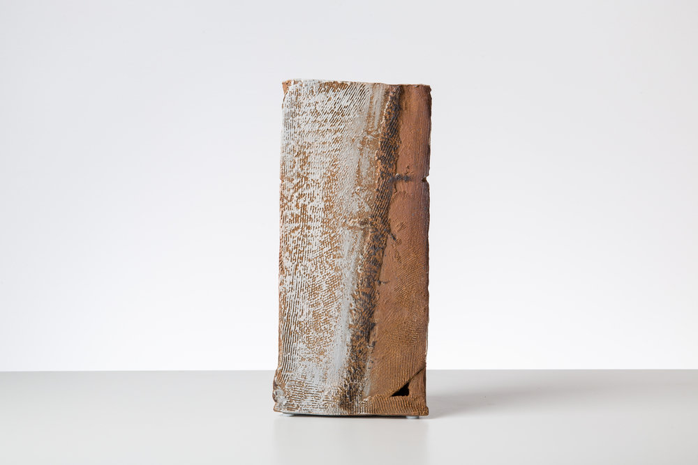 Toni Ross  Stele #13 , 2015 stoneware and slip  10 x 5 x 2 3/4 in.