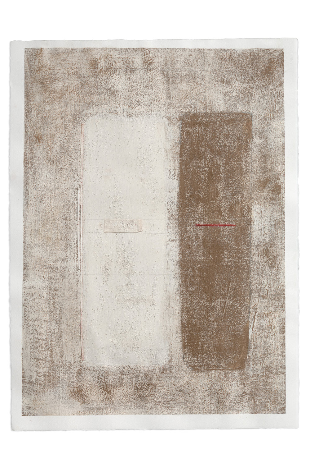Toni Ross  Untitled (TR 455) , 2013 black clay, porcelain, grog, oil pastel, graphite and paper collage on paper 30 1/4 x 22 1/4 in.