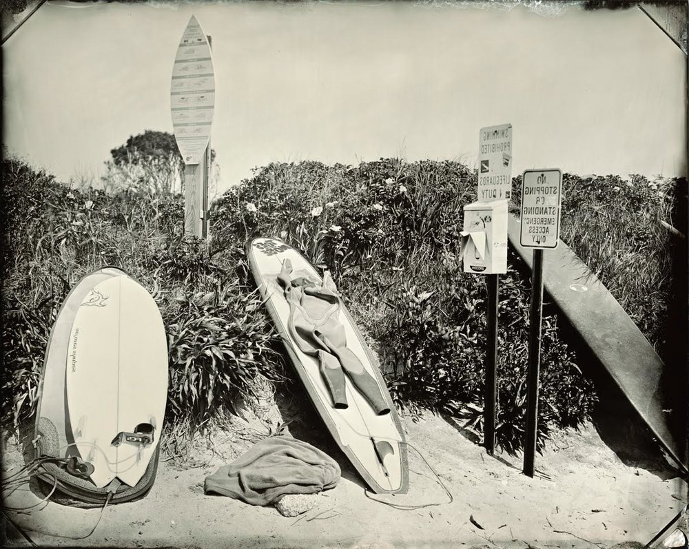 Joni Sternbach  Surfboard Still Life  unique tintype 11 x 14 in.