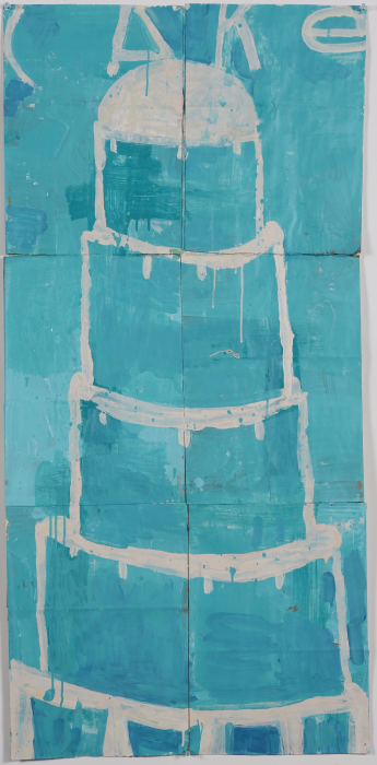 Gary Komarin  Cake Stacked: White on Turquoise , 2015 water-based enamel paint on paper stacks 50 x 23 1/2 in.