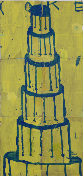 Gary Komarin  Cake Stacked: Blue on Yellow , 2015 water-based enamel paint on paper stacks 50 x 23 1/2 in.