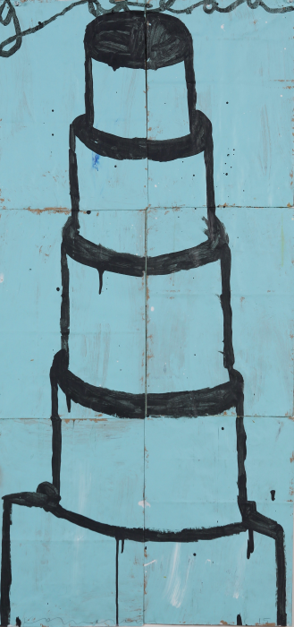 Gary Komarin  Cake Stacked: Black on Pale Blue , 2015 water-based enamel paint on paper stacks 50 x 23 1/2 in. SOLD