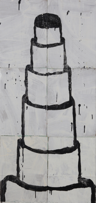 Gary Komarin  Cake Stacked: Black on White , 2015 water-based enamel paint on paper stacks 50 x 23 1/2 in.