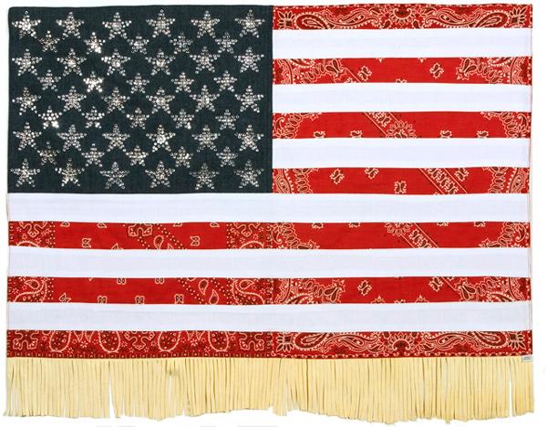 Muriel Stockdale  American, 2004 denim & rhinestones, bandana & tee shirt with chamois fringe 28 x 35 1⁄2 in.