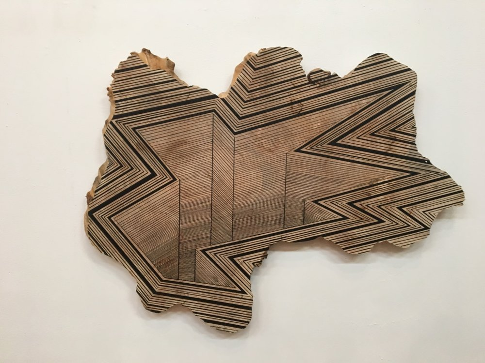 Jason Middlebrook  We are in a Deep Hole Now,  2016 spray paint on maple 25 1/2 x 34 x 1 in.