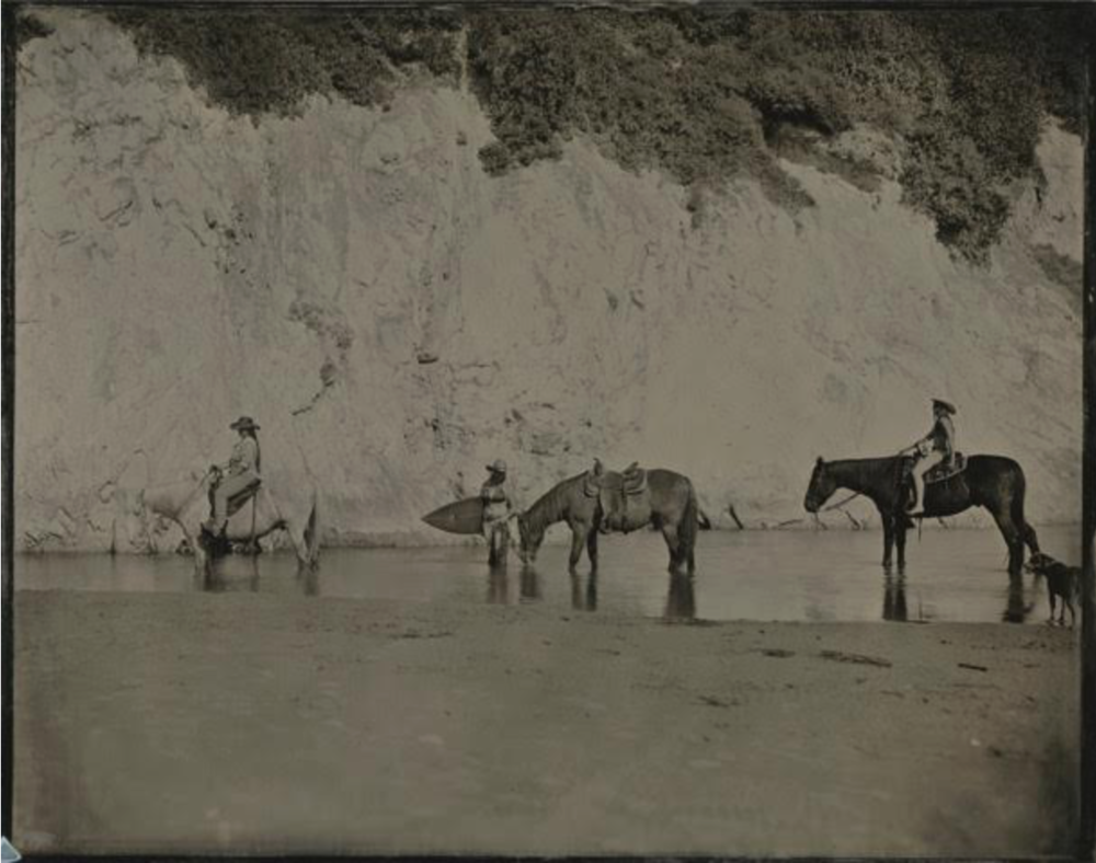 Joni Sternbach  Watering Horses, Santa Barbara  unique tintype 11 x 14 in.