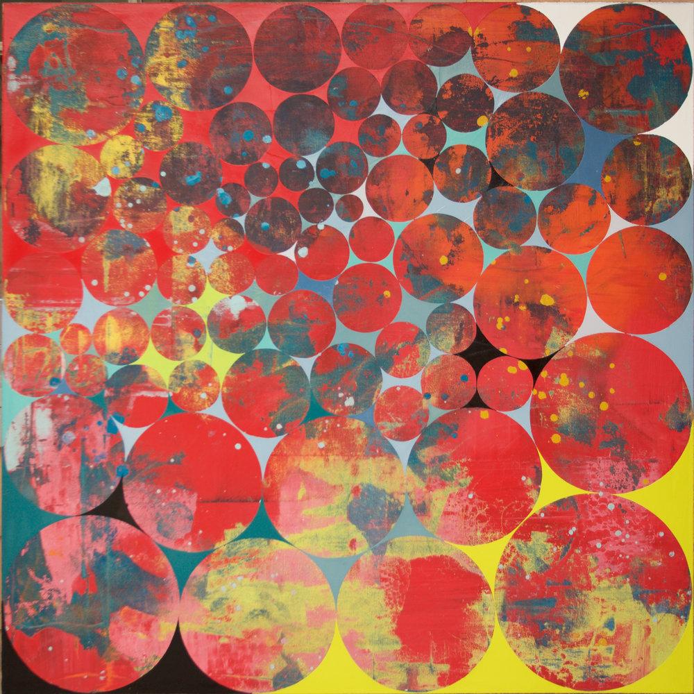 Perry Burns, Samurai Galaxy I, 2017 oil on canvas 36 x 36 in.