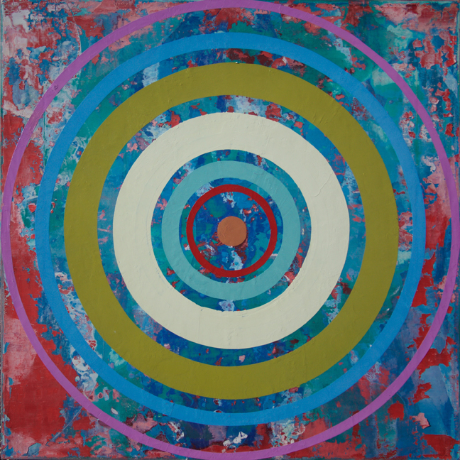 Perry Burns  3rd Eye Bullseye , 2015 oil on canvas 36 x 36 in.