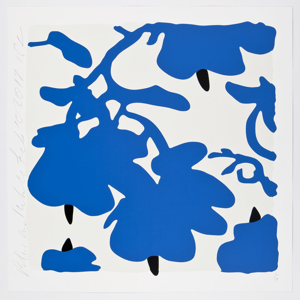 Donald Sultan  Blue and White, Feb 10, 2017 , 2017 color silkscreen with over-printed flocking Rising, 2-ply museum board. 32 x 32 in. edition of 50