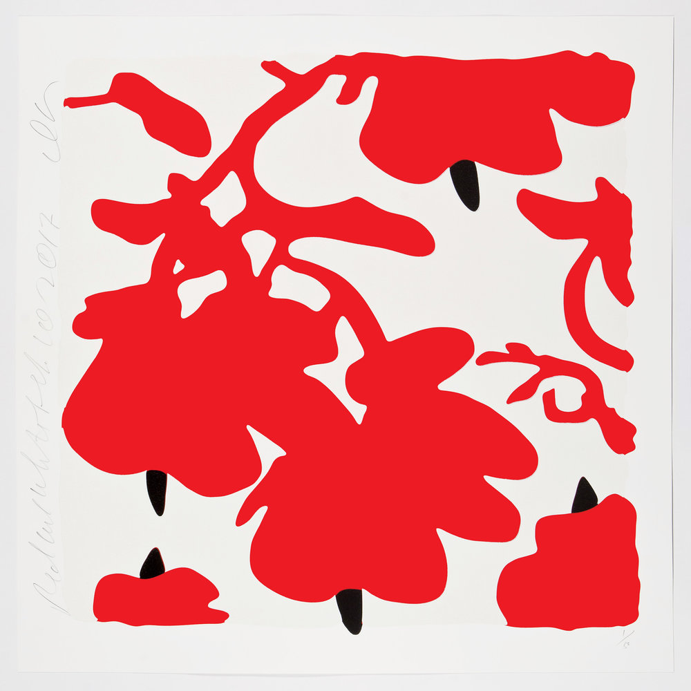 Donald Sultan  Red and White, Feb 10, 2017 , 2017 color silkscreen with over-printed flocking Rising, 2-ply museum board. 32 x 32 in. edition of 50