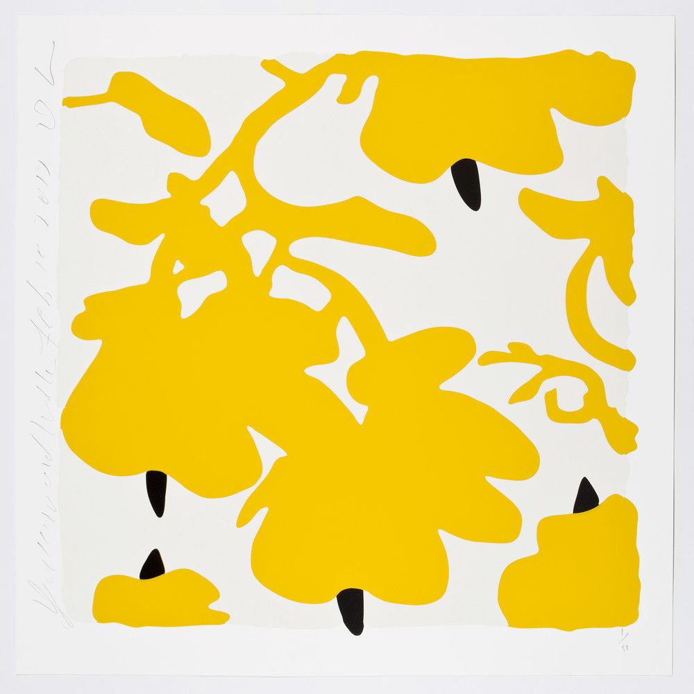 Donald Sultan  Yellow and White, Feb 10, 2017 , 2017 color silkscreen with over-printed flocking Rising, 2-ply museum board. 32 x 32 in. edition of 50